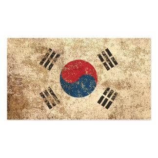 Rough Aged Vintage South Korean Flag Business Cards