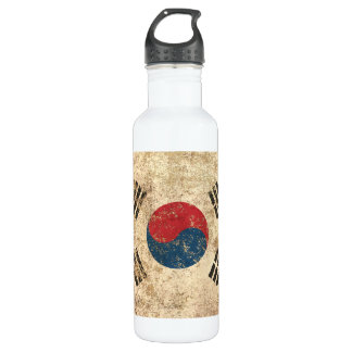 Rough Aged Vintage South Korean Flag Water Bottle