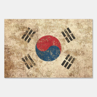 Rough Aged Vintage South Korean Flag Lawn Signs