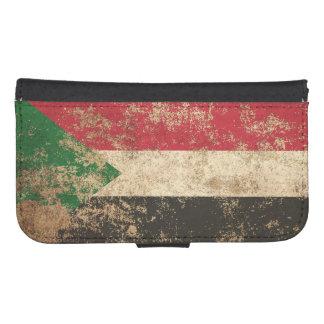 Rough Aged Vintage Sudanese Flag Phone Wallet Case