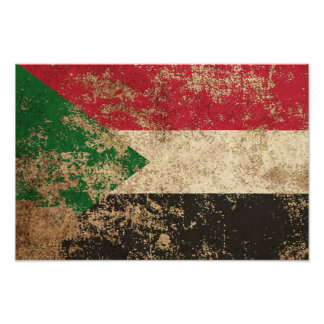 Rough Aged Vintage Sudanese Flag Poster