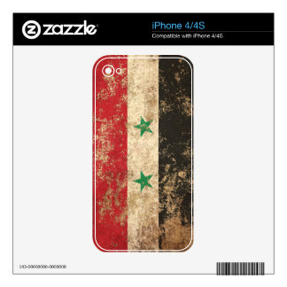 Rough Aged Vintage Syrian Flag Skin For iPhone 4S