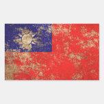 Rough Aged Vintage Taiwanese Flag Rectangular Sticker