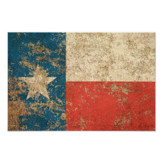 Rough Aged Vintage Texas Flag Poster
