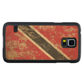 Rough Aged Vintage Trinidad and Tobago Flag Carved Maple Galaxy S5 Slim Case