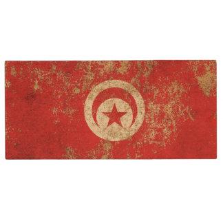 Rough Aged Vintage Tunisian Flag Wood USB 2.0 Flash Drive