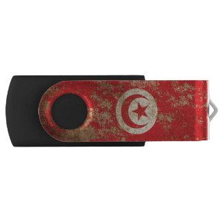 Rough Aged Vintage Tunisian Flag Swivel USB 2.0 Flash Drive