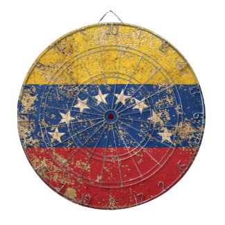 Rough Aged Vintage Venezuelan Flag Dart Board
