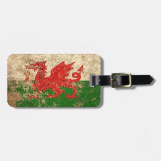 Rough Aged Vintage Welsh Flag Bag Tag