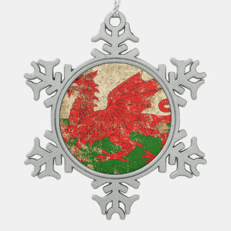 Rough Aged Vintage Welsh Flag Snowflake Pewter Christmas Ornament