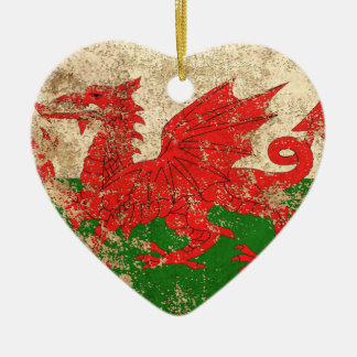 Rough Aged Vintage Welsh Flag Double-Sided Heart Ceramic Christmas Ornament
