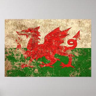 Rough Aged Vintage Welsh Flag Poster