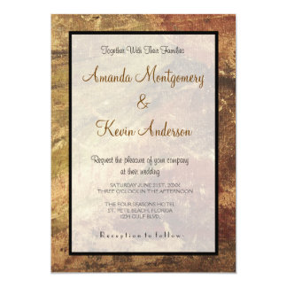 Rough and Weathered Grunge Texture Wedding Card