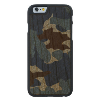 Rough Blue Camo Military Wood Grain iPhone 6 6S Carved Cherry iPhone 6 Slim Case