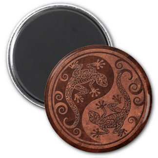 Rough Brown Stone Yin Yang Geckos 2 Inch Round Magnet