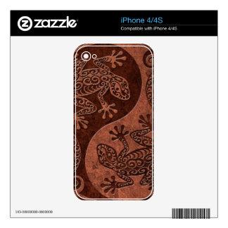 Rough Brown Stone Yin Yang Geckos iPhone 4 Skins