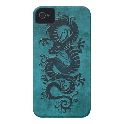 Rough Chinese Dragon, blue Blackberry Bold Case