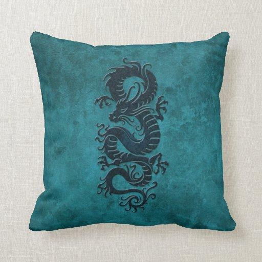 Rough Chinese Dragon, blue Throw Pillows