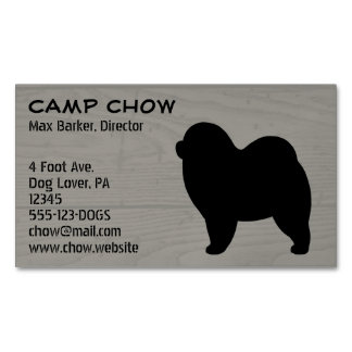 Rough Chow Chow Silhouette Magnetic Business Card
