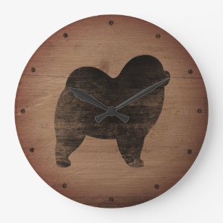 Rough Chow Chow Silhouette Rustic Style Large Clock