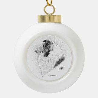 Rough Coat Collie Pen and Ink By Cindy Alvarado Ceramic Ball Christmas Ornament