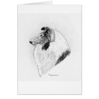 Rough Coat Collie Pen & Ink - Juliet Vs Valley Fev Card