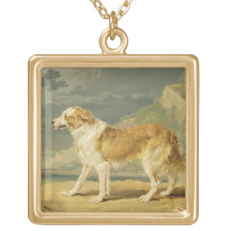 Rough-coated Collie, 1809 (oil on board) Square Pendant Necklace