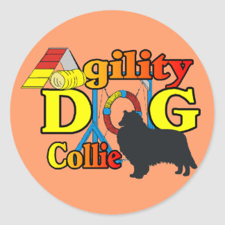 rough collie agility shirts gifts classic round sticker