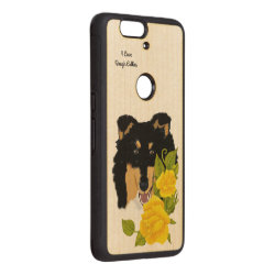Carved ® Google Nexus 6p Bumper Wood Case with Collie Phone Cases design
