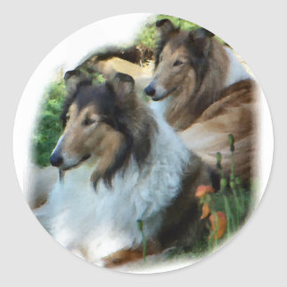 Rough Collie Art Gifts Classic Round Sticker