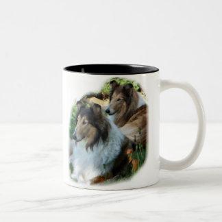Rough Collie Art Gifts Two-Tone Coffee Mug