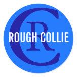Rough Collie Breed Monogram Design Classic Round Sticker