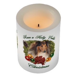 Rough Collie Christmas Flameless Candle