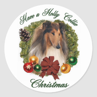 Rough Collie Christmas Gifts Classic Round Sticker