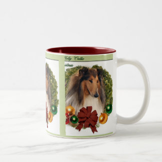 Rough Collie Christmas Gifts Two-Tone Coffee Mug
