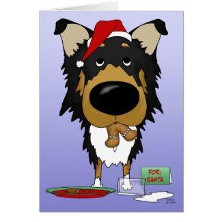 Rough Collie Christmas - Ho Ho Ho??? Greeting Card