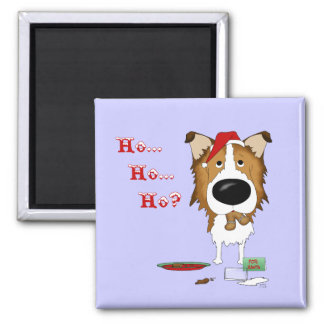 Rough Collie Christmas Magnets