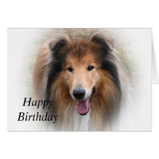 Rough collie dog beautiful custom birthday card