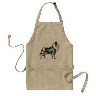 Rough collie dog beautiful illustration apron
