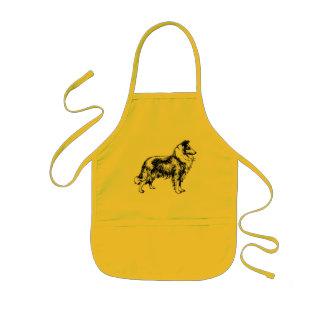 Rough collie dog beautiful illustration kids apron