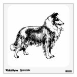 Rough Collie dog beautiful illustration wall decal