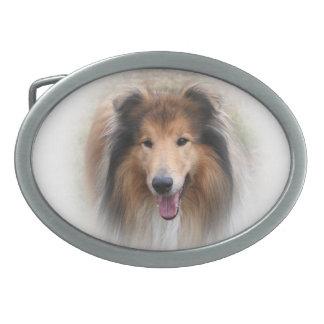 Rough Collie dog beautiful photo belt buckle