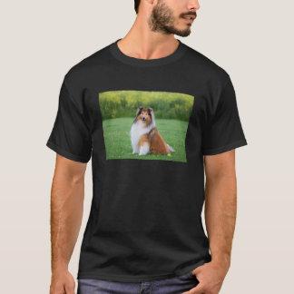Rough Collie dog beautiful photo black t-shirt