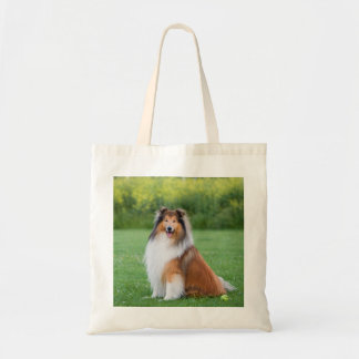Rough Collie dog beautiful photo tote bag