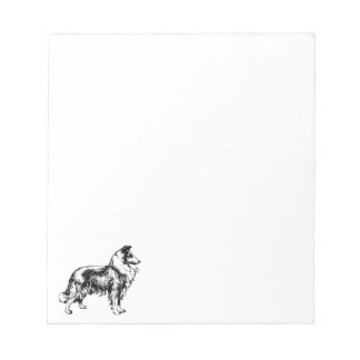 Rough Collie dog illustration art notepad, gift Notepad