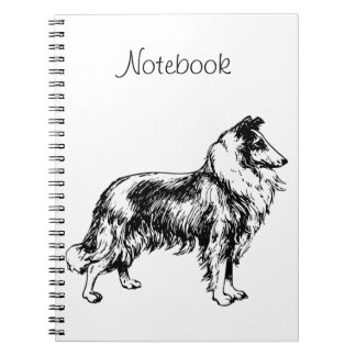Rough Collie dog illustration custom notebook