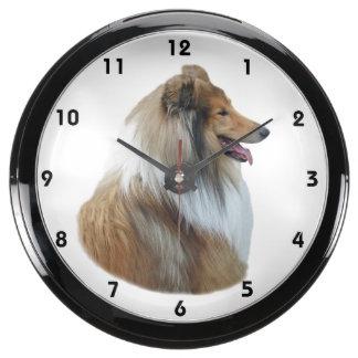 Rough Collie dog portrait photo Aquarium Clock