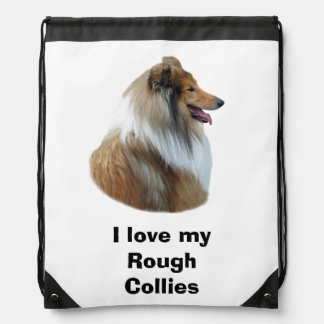 Rough Collie dog portrait photo Drawstring Backpack
