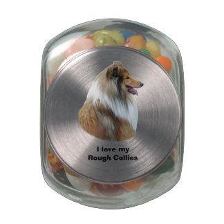 Rough Collie dog portrait photo Glass Candy Jar