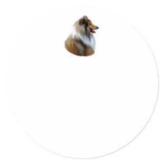 Rough Collie dog portrait photo 5.25x5.25 Square Paper Invitation Card